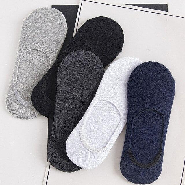 Hommes bambou Invisible cheville chaussettes hommes décontracté casual mocassins mocassins pas de spectacle chaussettes mâle noir blanc bateau chaussettes 10 pièces = 5 paire/lot