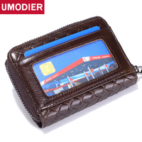UMODIER Brand Men Women ID Card Wallets Zipper Genuine Leather ID Credit card holder Female Slim and Mini Coin Purse 10 Slots