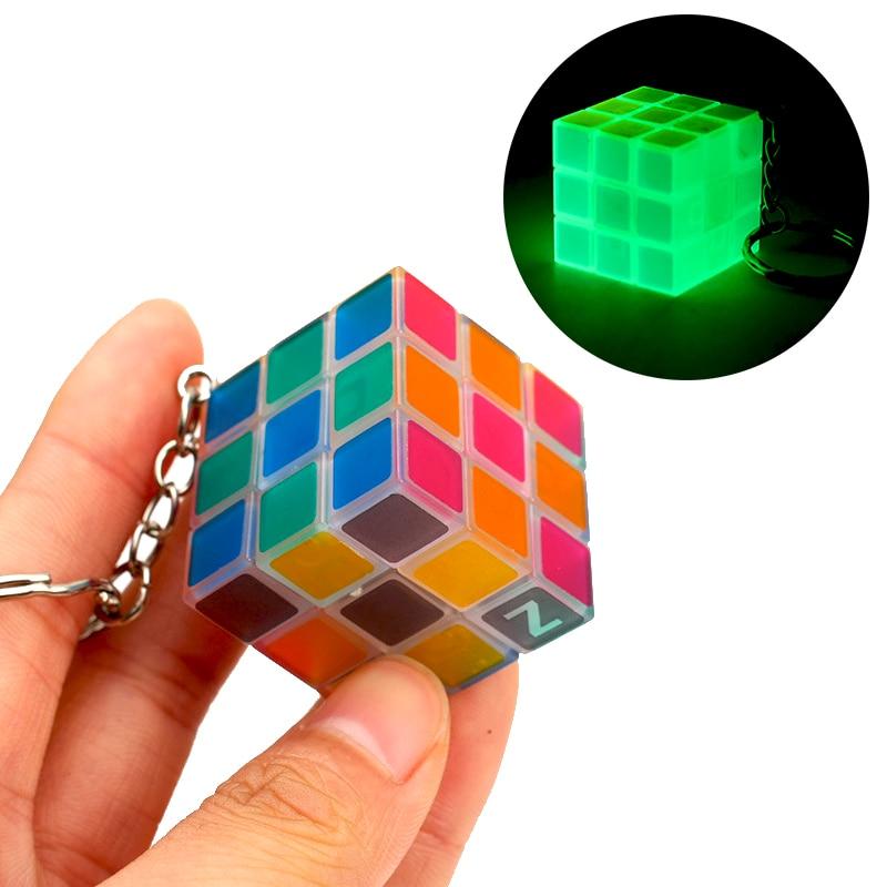 2019 Sale Mini Magic Cube Keychain Glow In The Dark Transparent Pocket 3x3x3 Luminous Small 3x3 Puzzle Key Chain Cubes For Kids