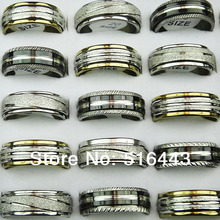 Mix Frosted 30pcs Wholesale Jewelry Lots Double Layer Spin Stainless steel Women Mens Rings A-304