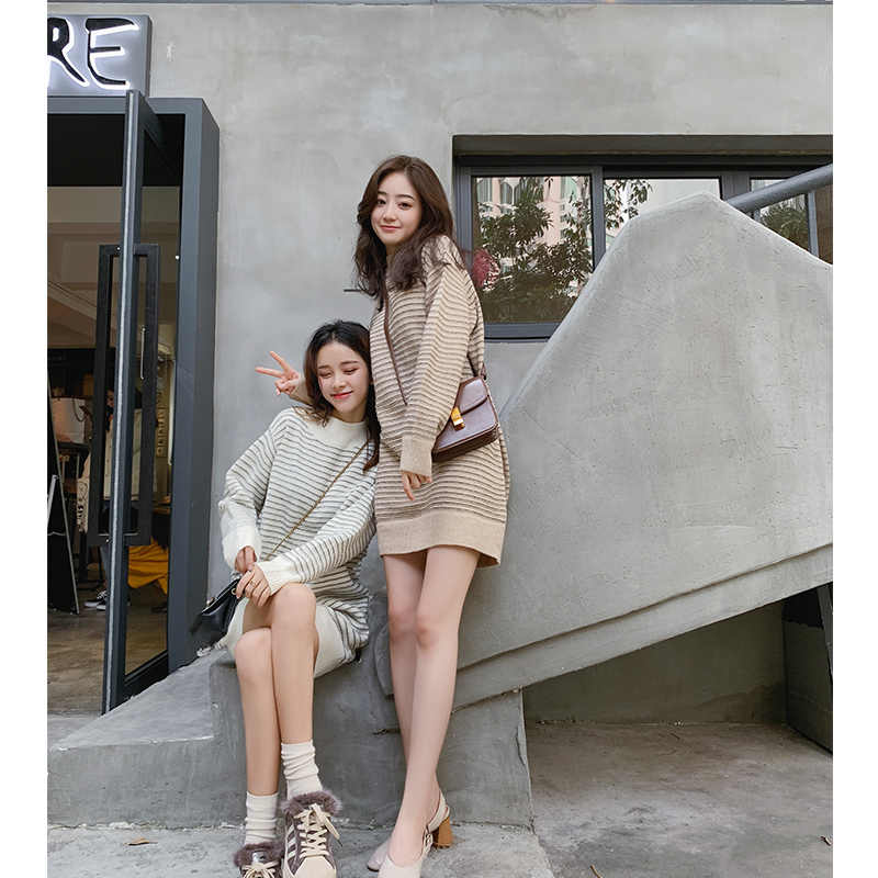 2019 MISHOW otoño suéter largo mujeres casual alrededor del cuello rayas manga larga suéter grueso tops MX18D5715