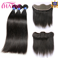 Brazilian Straight Hair 3 Bundles With Lace Frontal Closure 8A Brazilian Virgin Hair With Closure Human Hair Bundle With Frontal