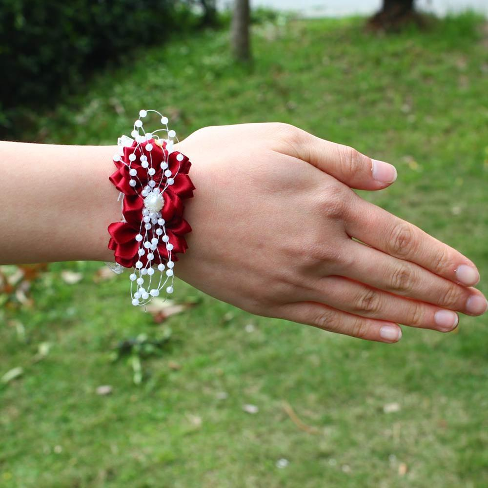 Wifelai-a Wrist Corsages Wedding Bride Ribbon Flowers Beads Bracelet WineRed Bridesmaid Silk Ribbon Wrist Corsag Marriage SW0679