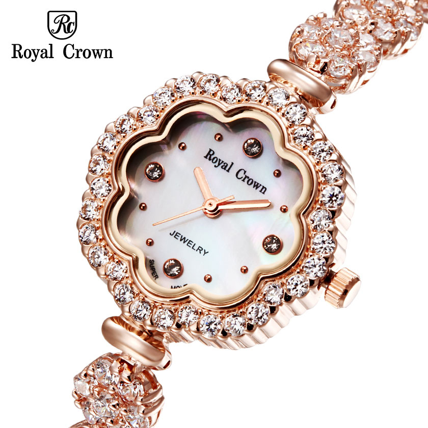 Luxury Jewelry Lady Woman Wrist Watch Fashion Hours Shell Dress Bracelet Brass Rhinestone Sun flower Gold