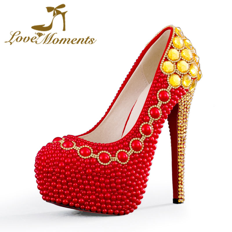Love Moments Handmade red pearl and gold rhinestone chains bridal high heel shoes women pumps lady
