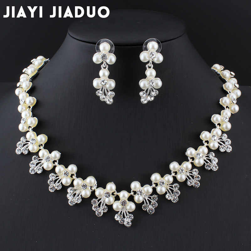 jiayijiaduo Bridal jewelry sets for women Silver color Necklace sets earrings  imitation pearl banquet wedding accessories