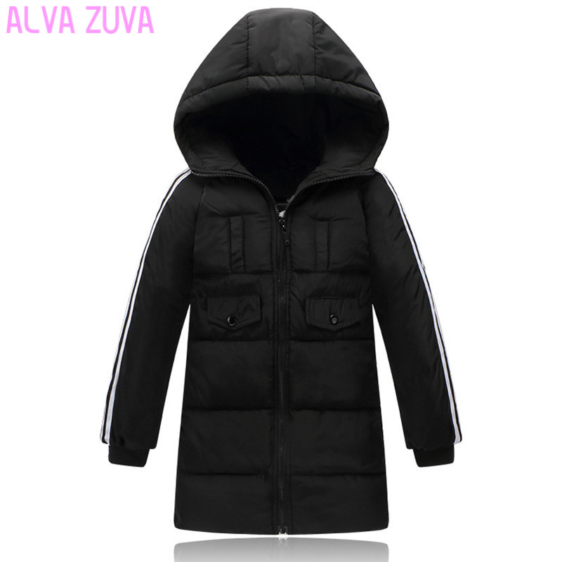 ALVA ZUVA Winter Children Down Jackets Boys Girls Parkas Coats Kids Cotton Padded Hooded Outerwear Clt362 цена 2017