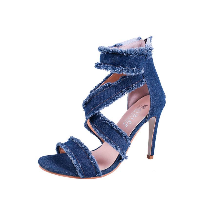 Модные однотонные джинсовые тонкие пятки острый носок на молнии на высоком каблуке ShoesWomens сандалии плюс Размер 35–40 Туфли без каблуков босо... ...
