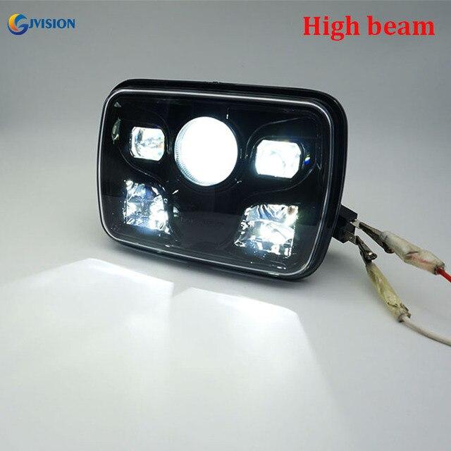 새로운 6x7 인치 H4 스퀘어 LED 헤드 라이트 헤드 램프 하이 로우 빔 클리어 프로젝터 렌즈 지프 랭글러 YJ Cherokee Comanche