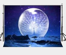 150x210cm Starry Night Backdrop Rough Planet Surface Bright Moon Photography Background