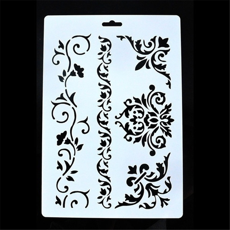 26*18cm DIY Craft Vintage Floral Pattern Stencil Template For Wall Painting Scrapbooking Decor Photo Album Decor Embossing Cards