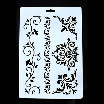 26*18cm DIY Craft Vintage Floral Pattern Stencil Template For Wall Painting Scrapbooking Decor Photo Album Decor Embossing Cards free shipping stencil painting template stamps diy scrapbooking photo album cards decorative embossing cake fondant cupcake tool