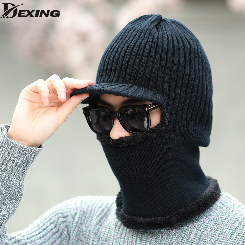 Men's Autumn And Winter Warm Wool Knitted Hats  Brim Outside Ear Protection Knit Skiing Beanies Cap