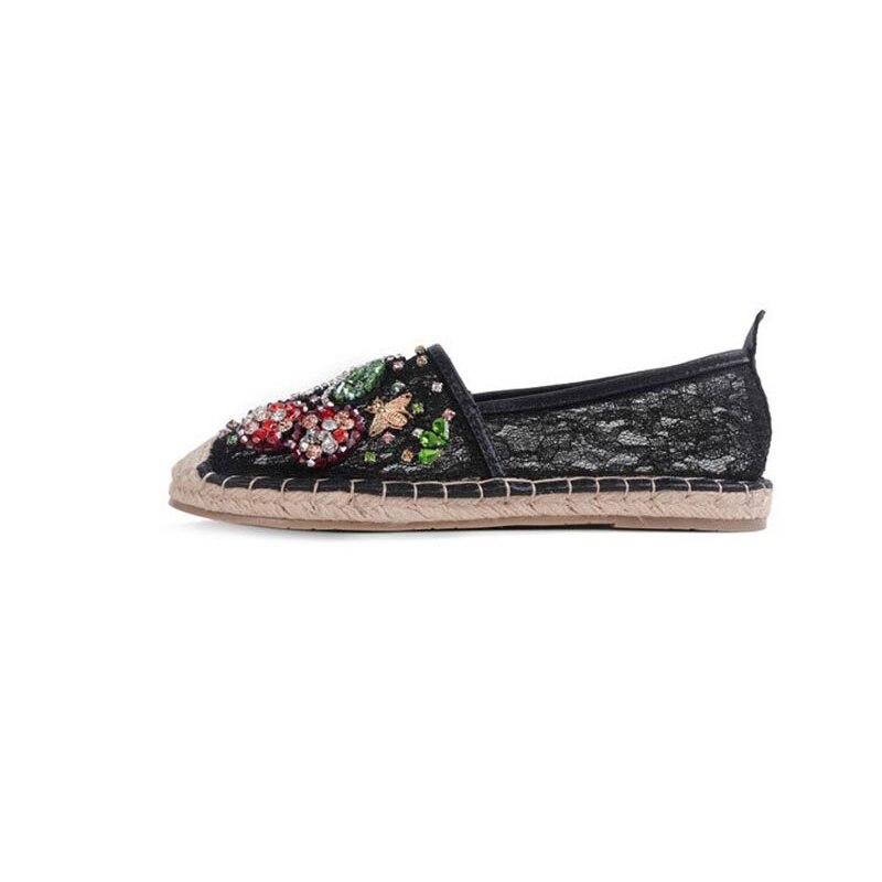 2018 40 Noir Confortable Glisser Chaussures Jearro Espadrilles Bout Nouveau Perle Femmes Size37 Bas Mocassins Sur blanc Chanvre Rond aqqZ7wSYA