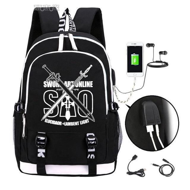 Spada Arte Online zaino 2019 Trendy usb del computer portatile del sacchetto di scuola per adolescenti bookbag Kirito cosplay Oxford Zaini di viaggio