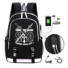 Sword Art Online backpack 2019 Trendy usb laptop school bag for teenagers bookbag Kirito cosplay Oxford travel Backpacks