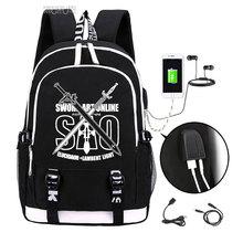 Épée Art en ligne sac à dos 2019 à la mode usb ordinateur portable sac décole pour adolescents bookbag Kirito cosplay Oxford voyage sacs à dos