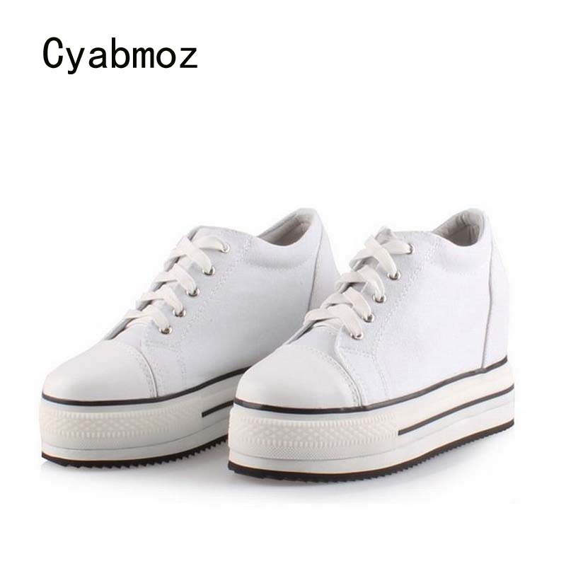 Cyabmoz Women Wedge Platform Shoes High heels Height increasing White Woman Casual Canvas Ladies Shoes Zapatillas DeportivasCyabmoz Women Wedge Platform Shoes High heels Height increasing White Woman Casual Canvas Ladies Shoes Zapatillas Deportivas