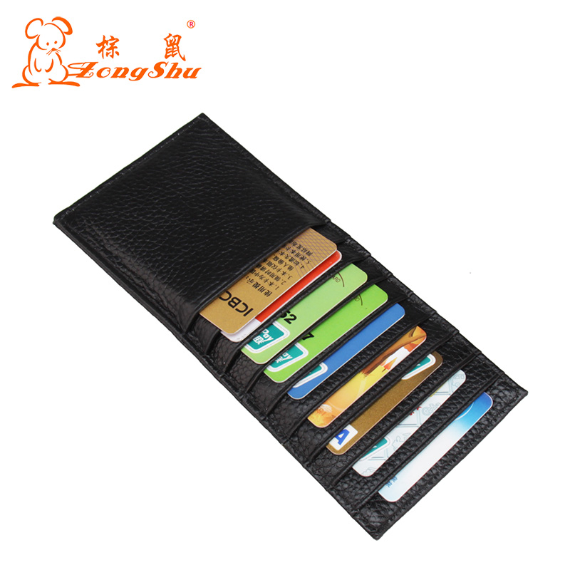 100% Genuine Leather Multifunction Credit ID Cards Holder Small Wallet Purse Brand Cards Wallets Used to put CARDS (Custom LOGO)