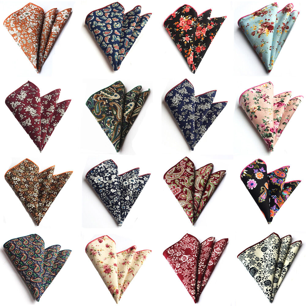 Men Stylish Floral Paisley Cotton Hanky Handkerchief Wedding Pocket Square HZTIE0219