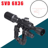 SVD 6X36 POS-1 Riflescope Red Illuminated Reticle Optical Sight Scope Mount Fits for Tcatical Tigr SKS Saiga Vepr Rifle AK army