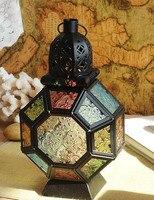 Vintage Metal Hollow Candle Lantern Glass Candle Holder Moroccan Hanging Lantern European Candlestick Wedding Lantern Decor