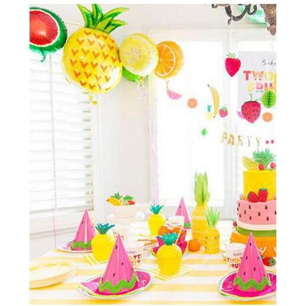 6x Plastic Tropic Pineapple Drinking Cup Straw Hawaii Luau Beach Party Decor