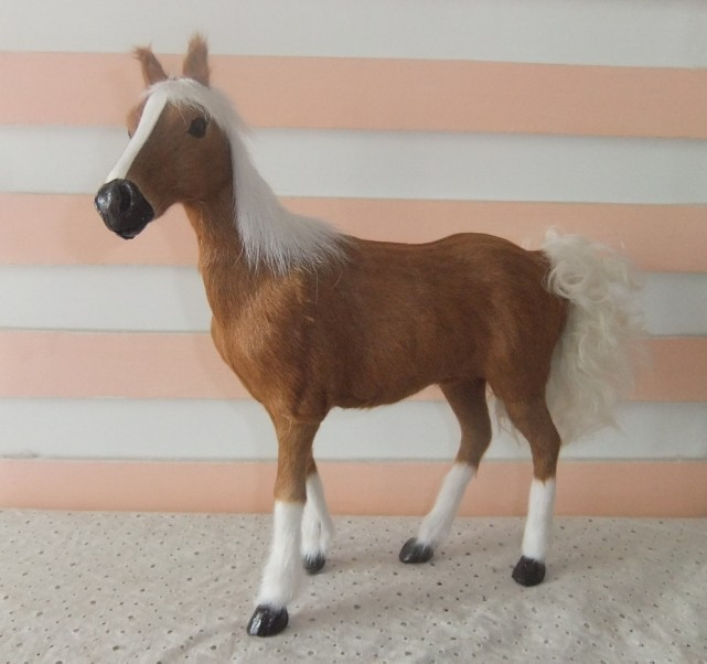 lovely simulation brown horse toy fur& polyethylene horse model horse doll gift about 28x25cm 1977 creative simulation horse toy polyethylene