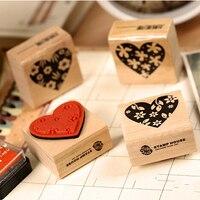 Cartoon Rabbit DIY Wood Stamp Blocks Children Toys Gifts Art LOGO Stamp Wood Box Packaging 40pcs