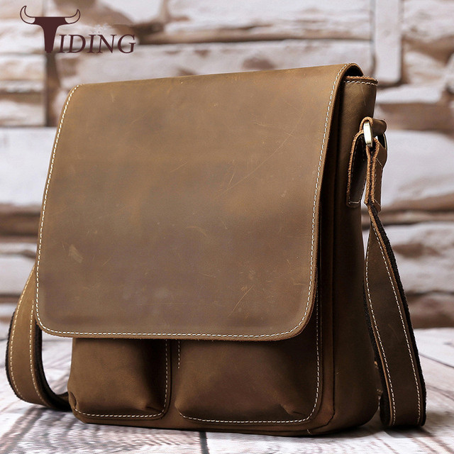 Tiding Vintage Top Quality Genuine Leather Messenger Bags Men S Shoulder Bag For Ipad Small Brown