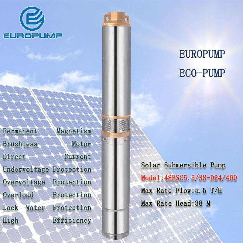EUROPUMP MODÈLE (4SESC5. 5/38-D24/400) DC24V Pompe À Eau, max 5500L/H 38 m Tête En Acier Inoxydable 304 Pompe, DC Solaire Pompe Submersible