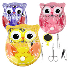 Owl nail tool set beauty Art Manicure kit small makeup leather lovely bag with 5pcs set clipper mirror scissors steel gift cobo