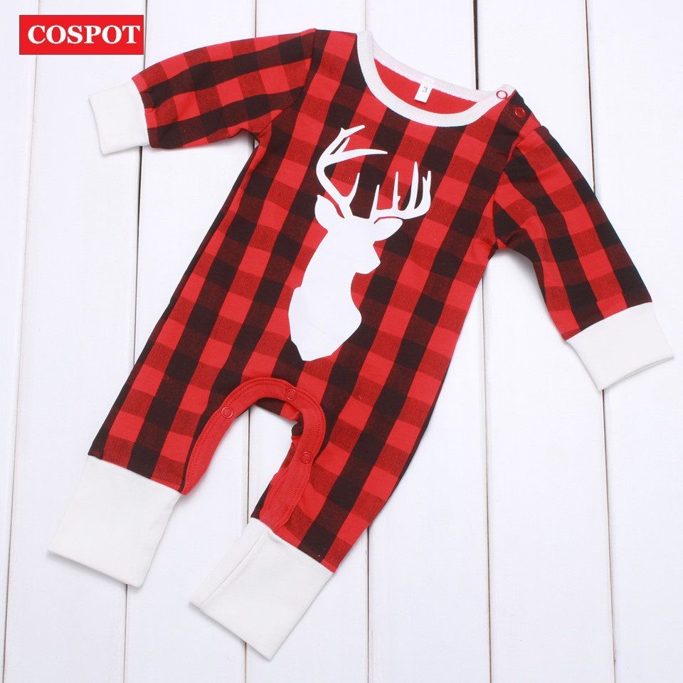 COSPOT Baby Girls Boys Christmas Reindeer Harem Rompers Girl Boy Winter Autumn Xmas Jumpsuit Toddler Kids Cotton Tank Jumper D40