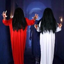 Хэллоуин страшный костюм для женщин человек вечерние Готический призрак Садако вампир ужас платье парик номер выход сценическое представление