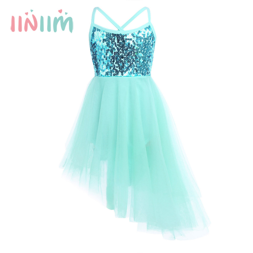 iiniim Girls Tutu Dress Sleeveless Sequins Elegant Ballet Dance Gymnastics Leotard Stage Performance Costume Formal Party Dress customized girl blue bird ballet tutu dresses ballet dress design dance tutu best selling anna shi classical spandex stage tutu