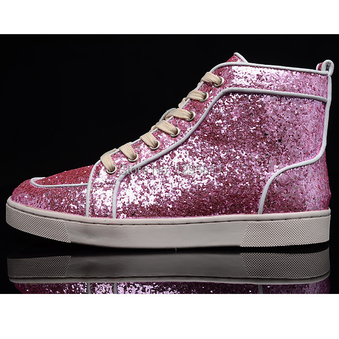 35fee7a7894 Red Bottom Men Shoes RANTUS ORLATO FLAT GLITTER MENS HIGH TOP SNEAKERS PINK-in  Men s Casual Shoes from Shoes on Aliexpress.com