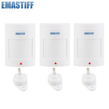 ¡Envío GRATUITO! 3 unids/lote cable Sensor de movimiento PIR Detector GSM PSTN sistema de alarma de seguridad para el hogar