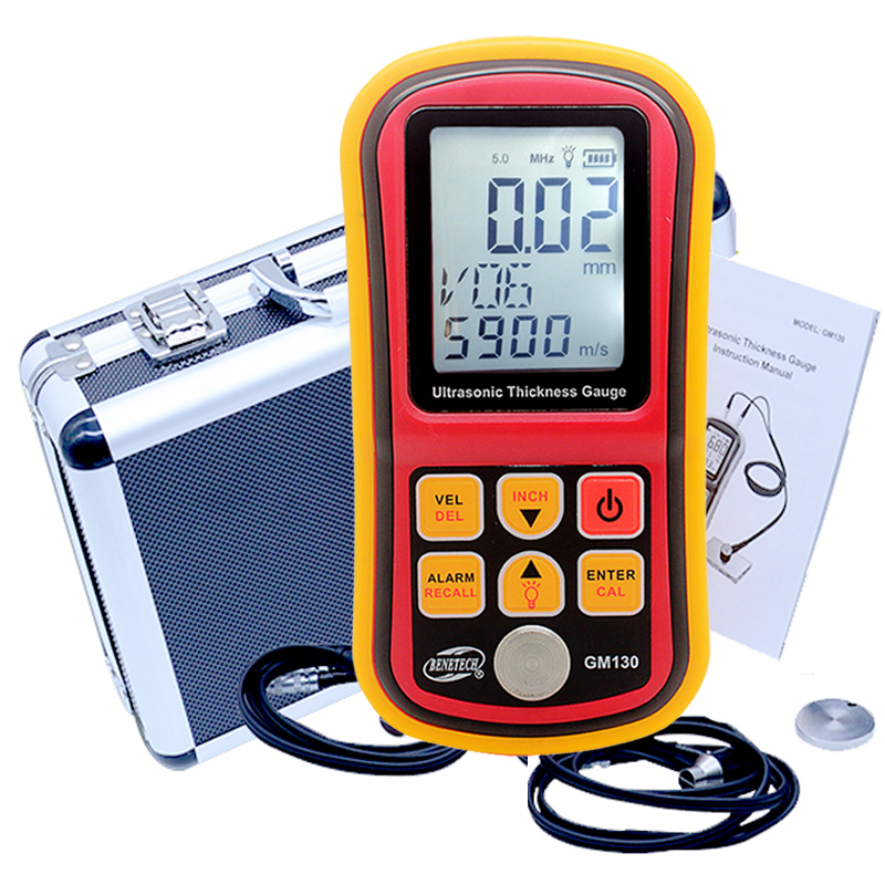 GM130 Ultrasonic Thickness Gauge 1.0~300mm Metal Width Monitor Tester Digital Ultrasonic Gauge Steel 0.01mm precision dual probe 5mhz 10mm probe transducer for ultrasonic thickness gauge