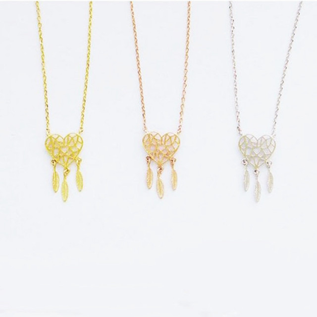 Heart Feather Gold Necklace