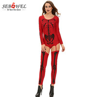 SEBOWEL Women's Skeleton Costume Club Demon terror for Halloween Costumes with White and Red Color