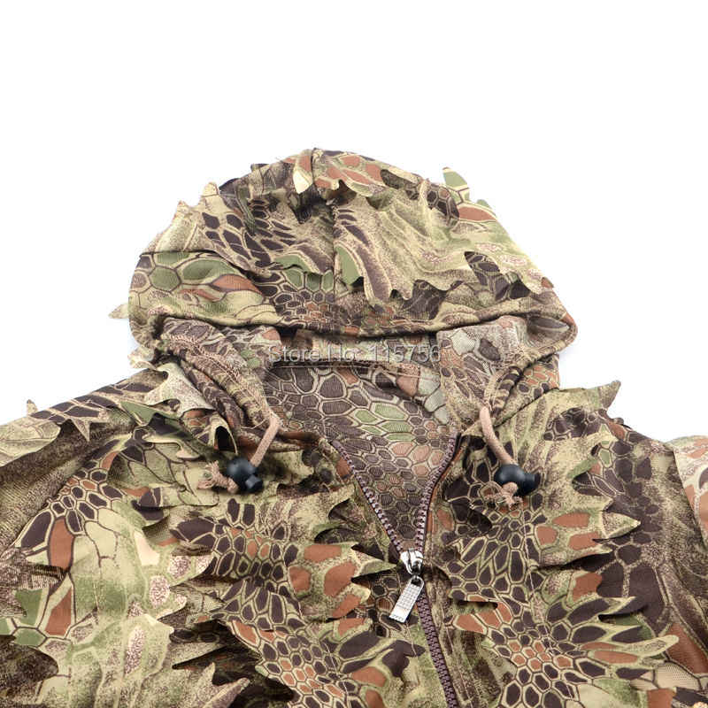 Serpenti di Pitone Modello Camouflage Ghillie Suit Laser di Taglio Veloce a Secco Vestiti da Caccia Adatto per Estate Autunno