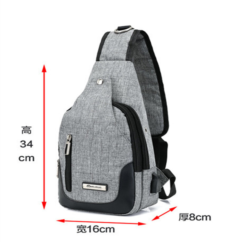 USB charging chest bag Oxford cloth mens chest bag casual waterproof ladies messenger bag