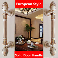 420mm 520mm Top quality european fashion thick solid ivory white big gate door handles white gold wooden glass Sliding door pull