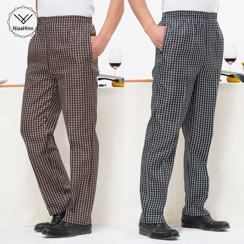 Coffee Plaid Chef Trousers Men's Loose Hotel Kitchen Work Pants Stripe Restaurant Uniform Cook Pant For Man Chef Bottoms L-5XL