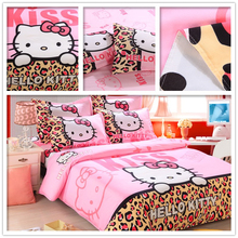 New Home Textiles Bedclothes Children Cartoon Pattern Hello Kitty Bedding Sets Duvet Cover + Bed Sheet + Pillowcase FreeShipping