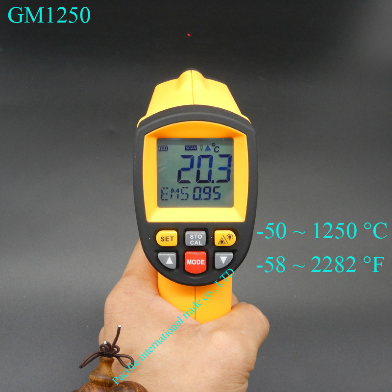 Non contact infrared thermometer GM1250 Digital emperature Pyrometer IR Laser Point Gun EMS 0.1-1.0 -50~1250C(-58~2282F) 2017 bside btm21c infrared thermometer color digital non contact ir laser thermometer k type 30 500 led