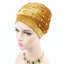 2017 New women luxury beaded pearled velvet long head wrap turban hijab tube scarf tie