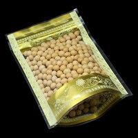 Großhandel Aufstehen Zip-Lock Gold Druck Kunststoff Verpackungsbeutel Lebensmittel Kaffee Snack Bohnen Lebensmittelfeuchtigkeitsdichten Verpackung Polybeutel