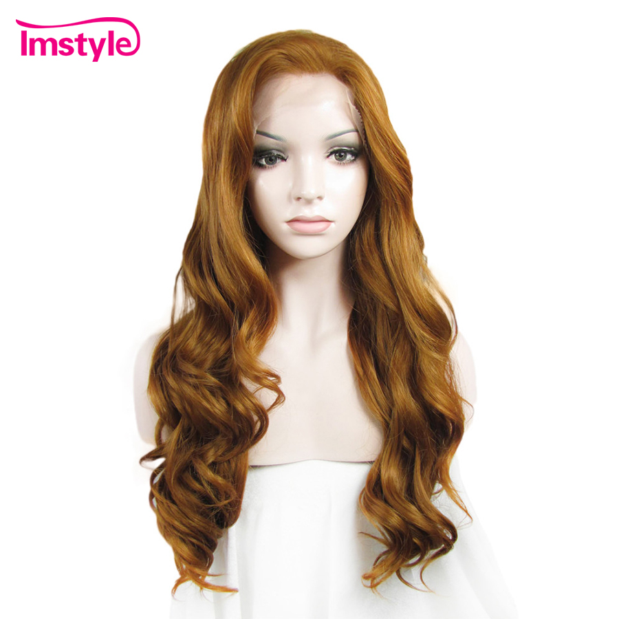 Imstyle Deep Wave Golden Blond Lace Front Wigs For Women 24 Inches Synthetic Wig Cosplay Heat Resistant Fiber Natural Hair