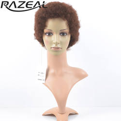 Razeal короткие парики Afro Kinky фигурные парик Синтетический Для женщин Косплэй парик высокая теплостойкость Температура волокно